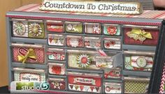I want to do this!! Buy a hardware storage cabinet (about $17 at lowe's/home depot) and decorate with Christmas paper! Only comes in 22 drawers, so put two days in a bigger drawer. Clever!!