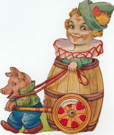 Vintage Mechanical Rubbernecking for you Clown and Pig Valentine (02/05/2012)