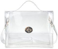 5689cd168f Clear Bag with Turn Lock Closure Cross Body Bag Women s Satchel Transparent  Messenger Shoulder Handbag - Clear - CB11ZNV3Q6D