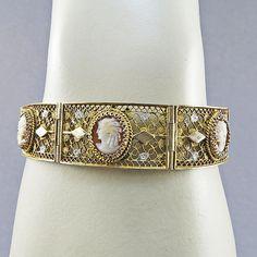 Vintage Cameo Bracelet In Sterling Silver Gilt Filigree Jewelry Carved Shell Cameo Jewelry Vintage Bangle Old Jewellery Statement Bracelet