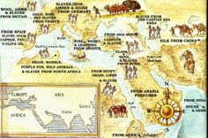 This image shows the empires true strength. It also shows some of the goods that were traded in the empire. Middle School History, Ancient Romans, Roman Empire, Vintage World Maps, Strength, Commercial, Teacher, Products, Maps