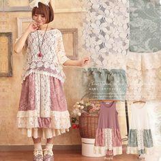 Forest Girls Japanese 2017 Women's Loose Lace Patchwork Sleeveless Tank Dress Cute Mori Girl Ruffles Cute Summer Dresses C083