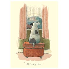 Missing You reproduced from a watercolour by Alison Friend Two Bad Mice produce a wide variety of cards and gifts for Dog Lovers and Animal Lovers by contemporary Artists. Each card comes with an address label and coloured envelope I Love Dogs, Cute Dogs, Animals And Pets, Cute Animals, Anita Jeram, Dog Illustration, Dog Art, Cute Drawings, Cute Art
