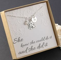 RX Pharmacist Necklace, Pharmacy technician, Prescription, Medical necklace  - Sterling Silver Initial Charm, Pearl or Birthstone by DivineJewelrybyMary on Etsy https://www.etsy.com/listing/230177855/rx-pharmacist-necklace-pharmacy