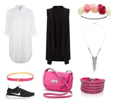 """Black and White Outfit with Pink Elements"" by roses-s ❤ liked on Polyvore featuring NIKE, Rosetti, Louis Vuitton, Charlotte Russe, Sif Jakobs Jewellery, Wallis, Topshop and Monsoon"
