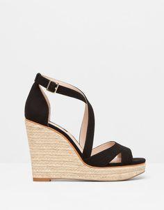 Pull&Bear - chaussures - talons et talons compensés - sandales croisées compensées corde - noir - 11295011-V2015