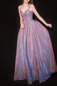 Sparkly Spaghetti Straps A-Line Light Purple Prom Dress Light Purple Prom Dress, Sparkly Prom Dresses, Pretty Prom Dresses, Elegant Dresses, Homecoming Dresses, Cute Dresses, Beautiful Dresses, Black Sparkly Dress, Purple Formal Dresses