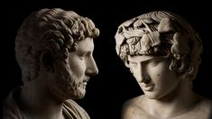 Marble bust of the emperor Hadrian, Italy, AD 117-118, and Antinous, Italy, AD 130-140 / Same-sex desire and gender identity at The British Museum - listen here http://www.britishmuseum.org/channel/object_stories/audio_a_little_gay_history.aspx?webSyncID=92bcecc9-3799-984e-a8d3-4a61d6ab020c=88db5156-1b26-8c2b-5d0e-58c45a5aeb34
