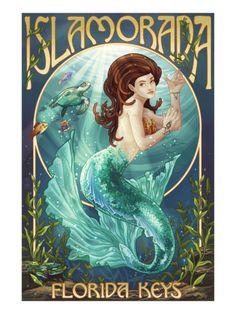 Islamorada, Florida Keys - Mermaid Poster by Lantern Press at AllPosters.com