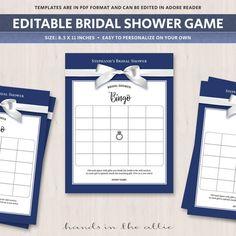 Wedding Shower Bingo Board Blank Bingo Cards Bridal Shower Game