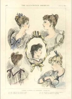 Late Victorian fashion plate in which several of the models wear eccentric hair ornaments in the form of arrows and daggers.
