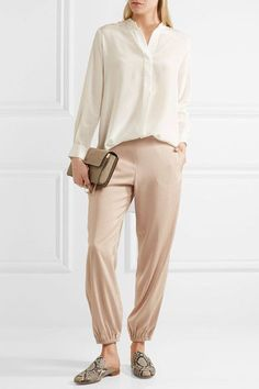 Elizabeth and James - Pascal Satin Tapered Pants - Blush - US