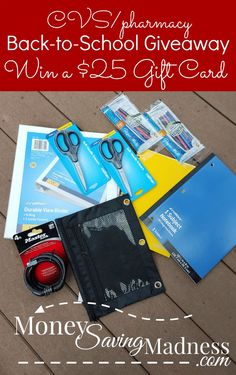 CVS Giveaway! http://www.moneysavingmadness.com/2015/08/cvspharmacy-back-to-school-25-gift-card-giveaway/