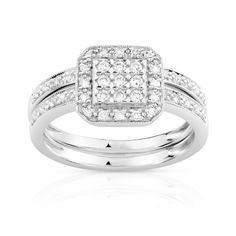 Alliance or 750 blanc duo diamant - Femme - Bagues - Maty