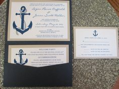 This beautiful, rustic invitation is the perfect compliment to your nautical wedding and it will surely wow your guests! This navy blue invitation is printed on white shimmer paper and mounted on a shimmer sand colored card stock. Everything is then tucked into a stunning navy blue