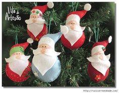 Enfeite papai noel de natal em feltro; navidad fieltro; christmas santa claus felt; com molde