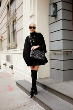 lulu frost (Theory poncho + Topshop skirt + American Apparel socks + Zara flats + Chanel bag + Karen Walker sunnies + Lulu Frost x Atlantic-Pacific necklace) Fashion Sites, Fashion Outfits, Atlantic Pacific, All Black Outfit, Black Outfits, Girly, Womens Fashion For Work, Autumn Winter Fashion, What To Wear