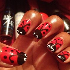 Lovin' the Ladybugs! If I do this, will probably do the accent nail, as all 10 looks too busy.