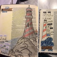 Simple colored pencil lighthouse drawing of Genesis 31:49. GREAT verse for couples that are getting into bible journaling together.