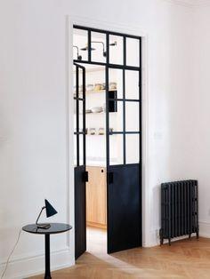 On the Hunt for: Black Steel Doors black steel door trend on apartment 34 / Home Upgrades, Turbulence Deco, Farmhouse Side Table, Minimal Home, London House, Steel Doors, Home Studio, Home Decor Inspiration, Decor Ideas
