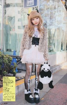 Love Japanese street fashion- this outfit is so cute and love the panda bag and skeleton tights