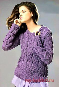 Пуловер спицами с эффектными косами http://my-kolibri.ru/vyazanie-dlya-zhenshhin/svitera-puloveryi-topyi-koftyi/pulover-spitsami-s-e-ffektny-mi-kosami-perepleteniyami-i-zhgutami/