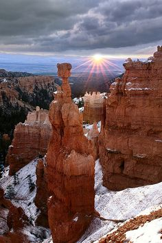 Sunrise and Thor's Hammer, Bryce Canyon, Utah;  photo by Doug Solis, via Flickr