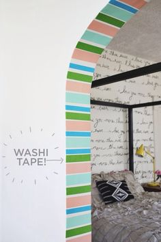 Very cute...love the washi tape accent on the doorway and the writing on the wall.