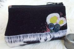 Vintage Buttons and Flowers Wool Purse - Needle Felted Zippered Pouch, Clutch. $40.00, via Etsy.