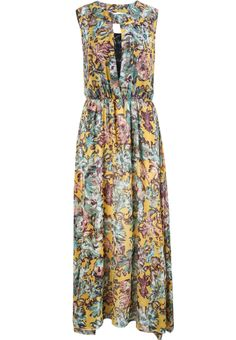 Yellow Sleeveless Vintage Floral Pleated Dress US$26.67