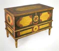 Fine American Antiques c1800-1825 pine dower chest, American, likely Virginia, possibly PA ~♥~