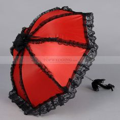 Vintage Wedding Parasol with Black Matching Ruffle Victorian Style Recommended
