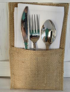 Rustic Country Burlap Silverware Flatware Cutlery Holders
