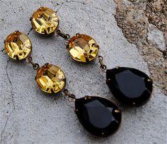 Black Noir Saffron Vintage Earrings Swarovski Crystal Earrings Tear Drop Rhinestone Pear Dangle Post Earrings Petite Fiesta Mashugana