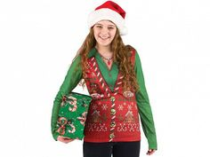 Womens Christmas Ugly Sweater T Shirt by Faux Real
