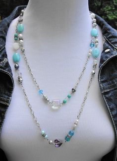 Long Station Necklace with Natural Brazilian Aquamarine, Mother of Pearl, Czech Pearls, AB Crystals, 52 inches