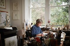 Angie Lewin working in her studio - a photograph by Alun Callender