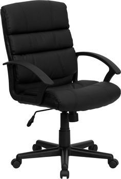 Make your work area an inviting space to spend the day with the help of the Flash Furniture Mid-Back Black Leather Swivel Task Chair . This upholstered. Black Office Chair, Swivel Office Chair, Office Chairs, Office Desk, Small Workspace, White Dining Chairs, Accent Chairs, Dining Table, Executive Chair