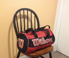 683bbc1262 Vintage Wilson duffle gym bag - red white black by retroAllStars on Etsy  Gym Bags
