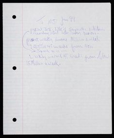 """Michael Jackson´s letter to himself: Note to himself, which states his job, current income and his desired income in 45 days:  """"To MJ - June 94  Present Job Title: is songwriter, entertainer, recording artist, actor, dancer, director Present Weekly Income: A million a week Job Title 45 weeks from now: Same........... Weekly Income 45 weeks from now: 15 million a week"""