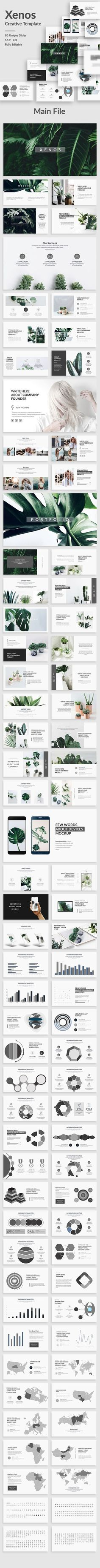 Xenos Creative Powerpoint Template - 85 unique slides - Devices mockup with drag and drop screen placeholder...