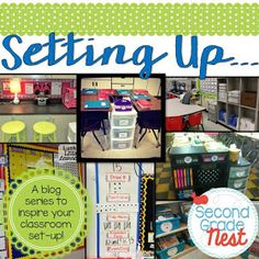"""Setting Up"" Blog Series- a set of 5 blog posts that outline classroom decor and classroom organization tips for calendar, library, word wall, small group, and more"