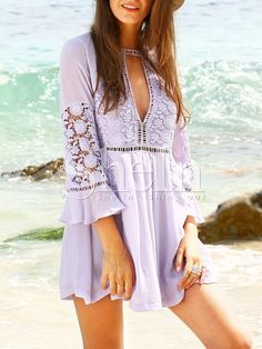 Shop Purple Crochet Bell Sleeve Beach Dress online. SheIn offers Purple Crochet Bell Sleeve Beach Dress & more to fit your fashionable needs.