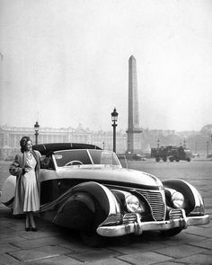"""From the Dec. 8, 1947 issue of LIFE (70 years ago this week) - """"AUTOMOBILE DESIGN: It is exciting in Europe but only promised in the U.S."""" This image opened the feature with the following caption: """"Custom-bodied French Talbot, poised elegantly in Place De La Concorde has sweeping, chrome-accented lines, was priced at $21,000 at the Paris Auto Show."""" (today, that would be roughly $230,000). (Tony Linck—The LIFE Picture Collection/Getty Images) #thisweekinLIFE #FrenchTalbot #ParisAutoShow"""