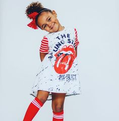 The Rolling Stones Romper/Dress/Hoodie Toddler Girl Style, Toddler Fashion, Toddler Outfits, Baby Boy Outfits, Kids Outfits, Kids Fashion, Cute Little Girls Outfits, Trendy Outfits, Cute Outfits