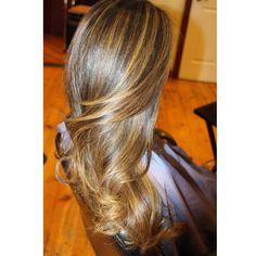 Balayage highlights on dark brown Asian hair