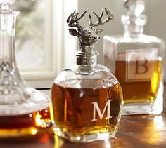 Stag Decanter #potterybarn-- LOVE!!! If anyone wants to go ahead and buy our wedding gift... or maybe just a gift for being awesome.