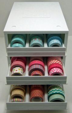 Papercrafting Organization: Ribbon, Twine & Washi Options Galore! - Papercrafting Organization: Washi Tape-In Spice Rack