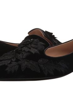 Alberta Ferretti Embroidered Slip-On Flat (Black) Women's Flat Shoes - Alberta Ferretti, Embroidered Slip-On Flat, 16252A600682032555, Footwear Closed Casual Flat, Casual Flat, Closed Footwear, Footwear, Shoes, Gift, - Street Fashion And Style Ideas
