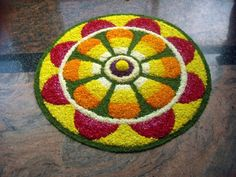 Big list Flower Rangoli Designs ideas and pictures for this ganesh chaturthi or any other Indian festivals. Learn flower rangoli designs for competition with flowers. Easy Rangoli Designs Diwali, Simple Rangoli Designs Images, Rangoli Designs Flower, Colorful Rangoli Designs, Rangoli Ideas, Diwali Rangoli, Flower Rangoli, Beautiful Rangoli Designs, Kolam Designs